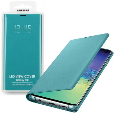 CUSTODIA ORIGINALE per SAMSUNG GALAXY S10 (SM-G973) - LED VIEW COVER COLORE VERDE EF-NG973PGEGWW BLISTER
