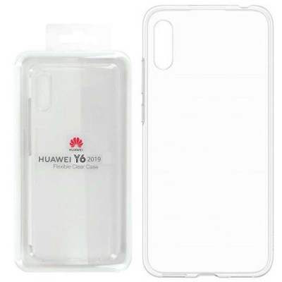 CUSTODIA ORIGINALE per HUAWEI Y6 2019, Y6 PRIME 2019 - FLEXIBLE CLEAR CASE IN GEL TPU SILICONE TRASPARENTE 51992912 BLISTER