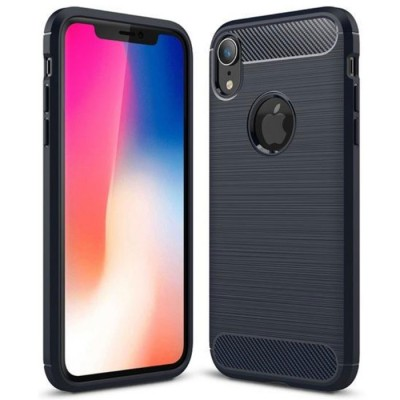 CUSTODIA per APPLE IPHONE XS MAX (6.5') IN GEL TPU SILICONE EFFETTO METALLICO CON INSERTI IN FANTASIA CARBONIO COLORE BLU