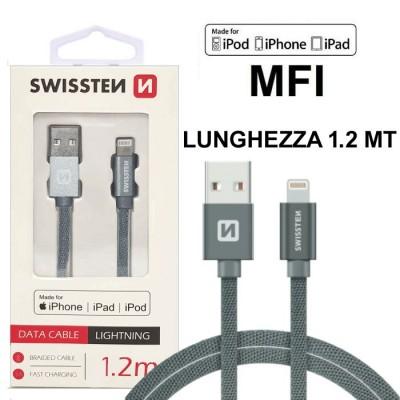 CAVO USB LIGHTNING per APPLE IPHONE XS, IPHONE XR CERTIFICATO MFI CON CAVO IN TESSUTO LUNGHEZZA 1.2MT GRIGIO SWISSTEN