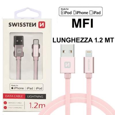 CAVO USB LIGHTNING per APPLE IPHONE XS, IPHONE XR CERTIFICATO MFI CON CAVO IN TESSUTO LUNGHEZZA 1.2MT ROSA ORO SWISSTEN