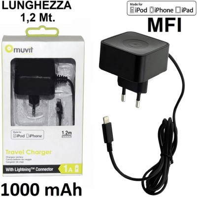 TRAVEL CASA LIGHTNING per APPLE IPHONE XS, IPHONE XR - 1000 mAh CERTIFICATO MFI LUNGHEZZA 1,2 Mt. COLORE NERO MUVIT BLISTER