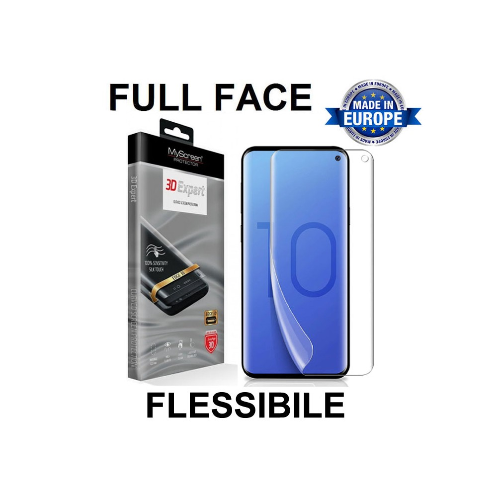 PELLICOLA per SAMSUNG GALAXY S10 (SM-G973) FULL FACE 3D EXPERT FLESSIBILE 3H 0,2 mm MYSCREEN BLISTER