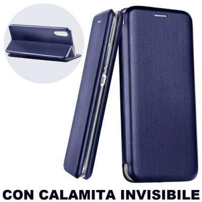 CUSTODIA per SAMSUNG GALAXY A50 (SM-A505) - FLIP ORIZZONTALE SIMILPELLE CON CHIUSURA MAGNETICA INVISIBILE E INTERNO IN TPU BLU