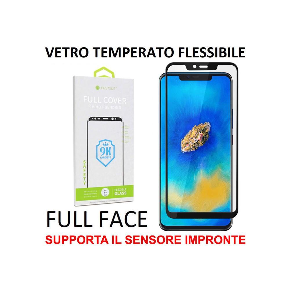 PELLICOLA per HUAWEI MATE 20 PRO VETRO TEMPERATO FULL FACE FLESSIBILE 0,15mm (SUPPORTO SENSORE IMPRONTE) CORNICE NERA