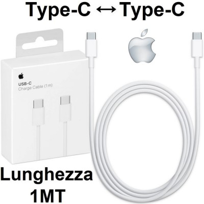 CAVO USB ORIGINALE APPLE A1997 TYPE-C A TYPE-C per IPAD PRO 11' (2018), MACBOOK 12' COLORE BIANCO BLISTER SEGUE COMPATIBILITA'..