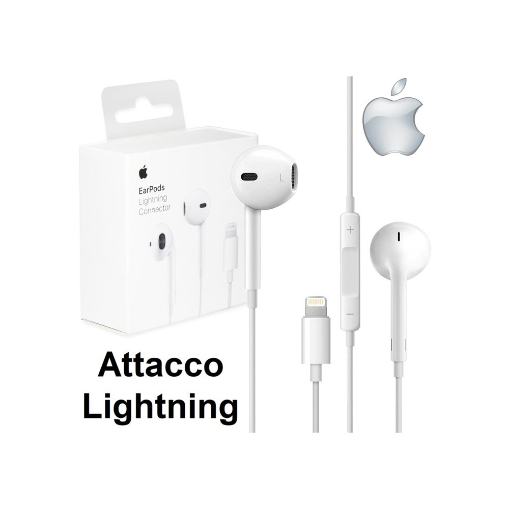 AURICOLARE STEREO EARPODS ORIGINALE APPLE A1748 per IPHONE XS, IPHONE XR - ATTACCO LIGHTNING CON TASTO DI RISPOSTA BLISTER