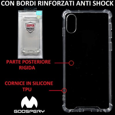 CUSTODIA per APPLE IPHONE XS MAX (6.5') CON PARTE POSTERIORE RIGIDA, CORNICE IN SILICONE TRASPARENTE E BORDI RINFORZATI ANTI SHO