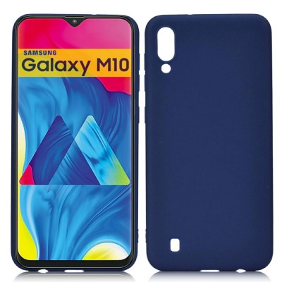 CUSTODIA per SAMSUNG GALAXY M10 (SM-M105) IN GEL TPU SILICONE SLIM COLORE BLU SATINATO