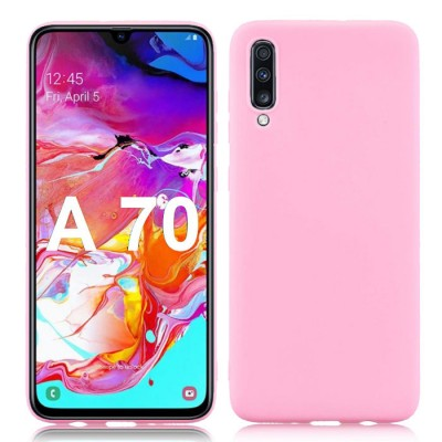 CUSTODIA per SAMSUNG GALAXY A70 (SM-A705) IN GEL TPU SILICONE SLIM COLORE ROSA SATINATO