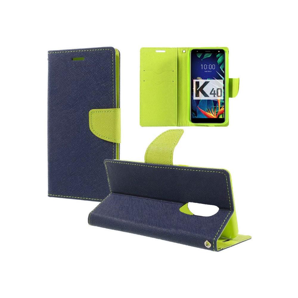 CUSTODIA per LG K40, K40 DUAL SIM, K12+ - FLIP ORIZZONTALE CON INTERNO IN TPU SILICONE, STAND E CHIUSURA MAGNETICA COLORE BLU