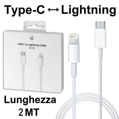 CAVO USB ORIGINALE APPLE A1702 LIGHTNING A TYPE-C per IPHONE XS MAX, IPHONE XR, IMAC PRO COLORE BIANCO BLISTER SEGUE COMPATIBILI