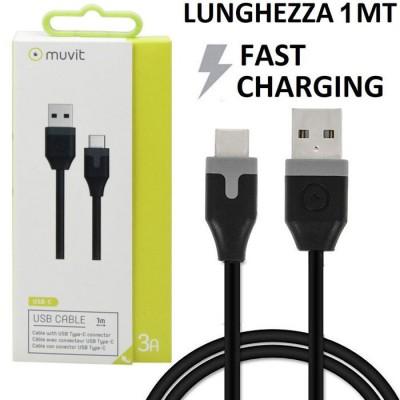 CAVO USB TYPE-C 2.0 FAST CHARGING 3A per SAMSUNG GALAXY S10 (SM-G973), GALAXY TAB A 10.5 (SM-T590) - LUNGHEZZA 1 MT NERO MUVIT