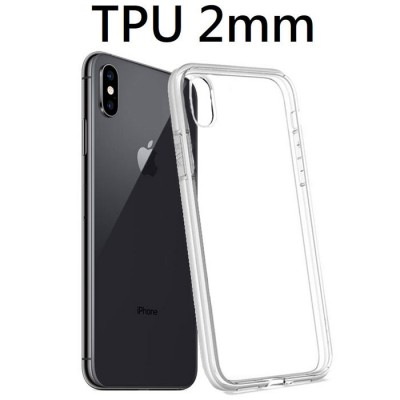 CUSTODIA per APPLE IPHONE X, IPHONE XS (5.8') IN GEL TPU SILICONE 2mm TRASPARENTE CON CORNICE BIANCO OPACO