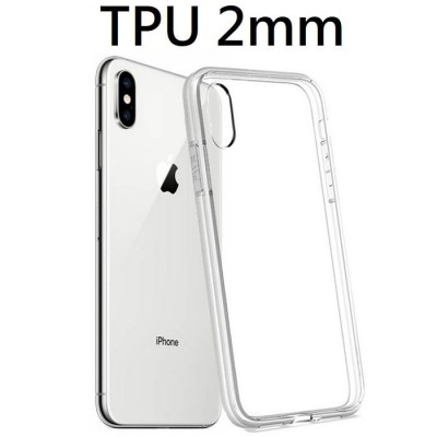 CUSTODIA per APPLE IPHONE XS MAX (6.5') IN GEL TPU SILICONE 2mm TRASPARENTE CON CORNICE BIANCO OPACO