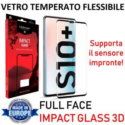 PELLICOLA per SAMSUNG GALAXY S10 PLUS (G975) IMPACT GLASS 6H FULL FACE 3D FLESSIBILE 0,33 (SUPPORTO SENSORE IMPRONTE) CORNICE NE
