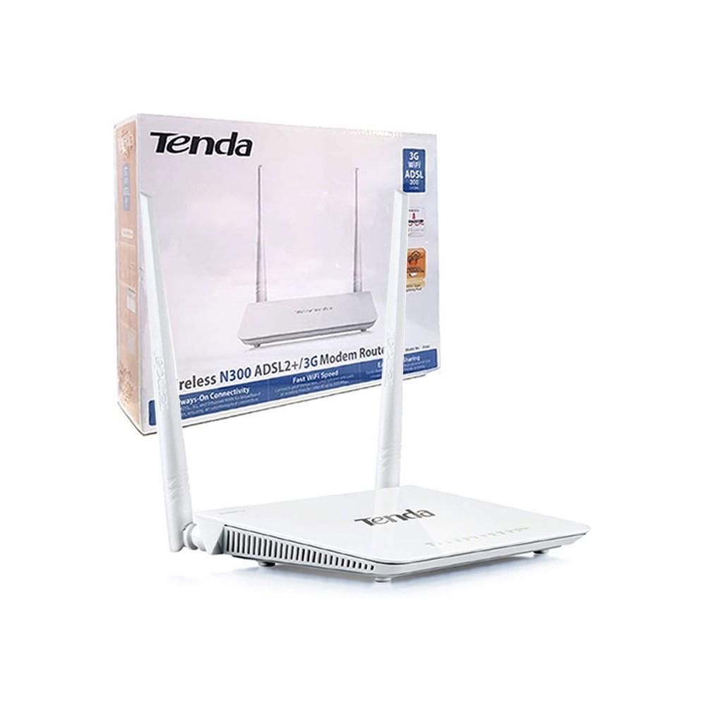 MODEM ROUTER WIRELESS N300Mbps ADSL2 + 3G CON 4 PORTE LAN, 1 PORTA USB 2.0 E 1 PORTA RJ11T COLORE BIANCO D303 TENDA