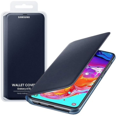CUSTODIA ORIGINALE per SAMSUNG GALAXY A70 (SM-A705) - WALLET COVER COLORE NERO EF-WA705PBEGWW BLISTER
