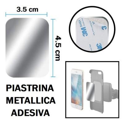 PLACCA METALLICA ADESIVA UNIVERSALE RETTANGOLARE DIMENSIONI 4,5 CM x 3,5 CM COLORE GRIGIO
