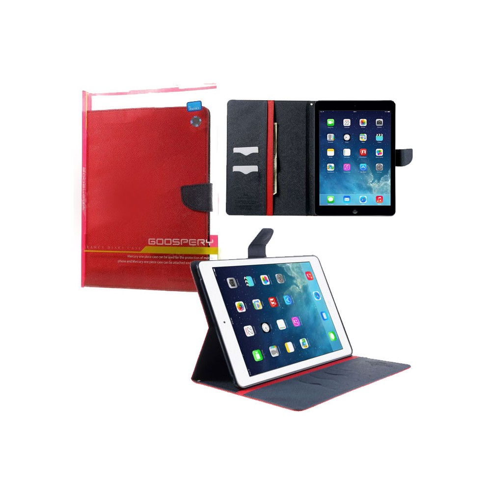 CUSTODIA BOOK ORIZZONTALE per APPLE IPAD AIR, IPAD 5 CON INTERNO IN TPU, STAND E PORTA CARTE COLORE ROSSO ALTA QUALITA' MERCURY