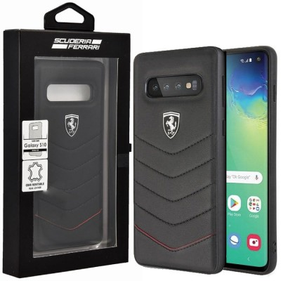 CUSTODIA per SAMSUNG GALAXY S10 (SM-G973) BACK RIGIDA IN VERA PELLE CON LOGO FERRARI COLORE NERO BLISTER