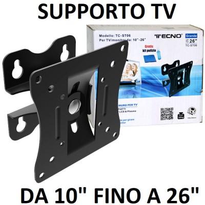SUPPORTO A MURO UNIVERSALE CON SINGOLO SNODO PER LED, LCD E PLASMA DA 10' A 26' POLLICI MAX 20KG COLORE NERO TECNO BLISTER