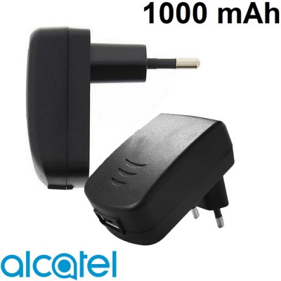 TRAVEL CASA ORIGINALE ALCATEL S005UV0500100 CON PORTA USB DA 1000 mAh COLORE NERO BULK