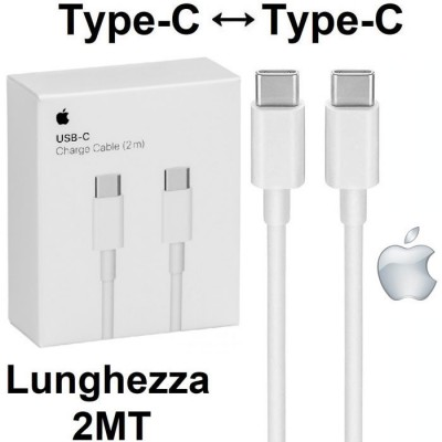 CAVO USB ORIGINALE APPLE A1739 TYPE-C A TYPE-C per IPAD PRO 12.9', MACBOOK PRO 13' - LUNGHEZZA 2 MT COLORE BIANCO BLISTER