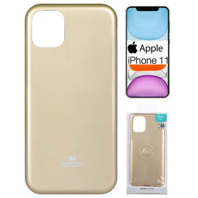CUSTODIA per APPLE IPHONE 11 (6.1') IN GEL TPU SILICONE COLORE ORO LUCIDO CON GLITTER ALTA QUALITA' MERCURY BLISTER