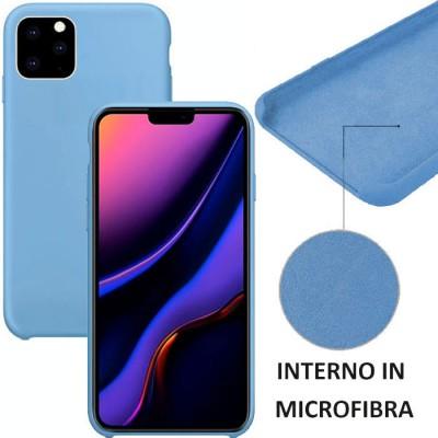 CUSTODIA per APPLE IPHONE 11 PRO MAX (6.5') IN SILICONE CON EFFETTO SOFT TOUCH ED INTERNO IN MICROFIBRA COLORE BLU