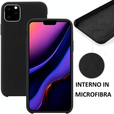 CUSTODIA per APPLE IPHONE 11 PRO MAX (6.5') IN SILICONE CON EFFETTO SOFT TOUCH ED INTERNO IN MICROFIBRA COLORE NERO