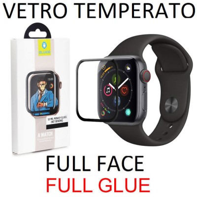 PELLICOLA per APPLE WATCH 44MM (SERIE 4) IN VETRO TEMPERATO FULL FACE 3D 9H - FULL GLUE 0,33mm CON CORNICE COLORE NERO BLUEO