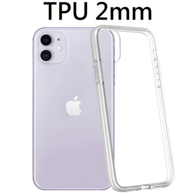 CUSTODIA per APPLE IPHONE 11 (6.1') IN GEL TPU SILICONE 2mm TRASPARENTE CON CORNICE BIANCO OPACO