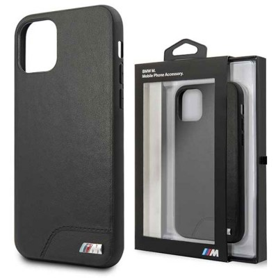 CUSTODIA per APPLE IPHONE 11 PRO (5.8') BACK RIGIDA BMW IN SIMILPELLE COLORE NERO CON LOGO BMW 'M'