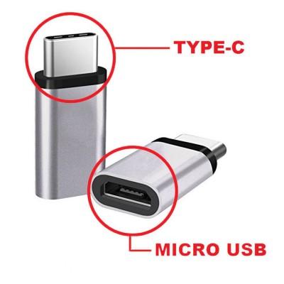 ADATTATORE DA MICRO USB FEMMINA A TYPE-C MASCHIO COLORE SILVER