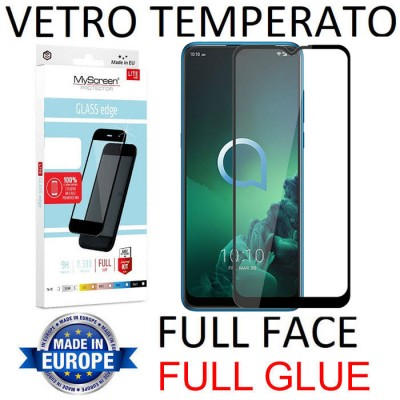 PELLICOLA per ALCATEL 3X (2019) IN VETRO TEMPERATO FULL FACE 9H - FULL GLUE 0,33mm CON CORNICE NERA MYSCREEN LITE BLISTER