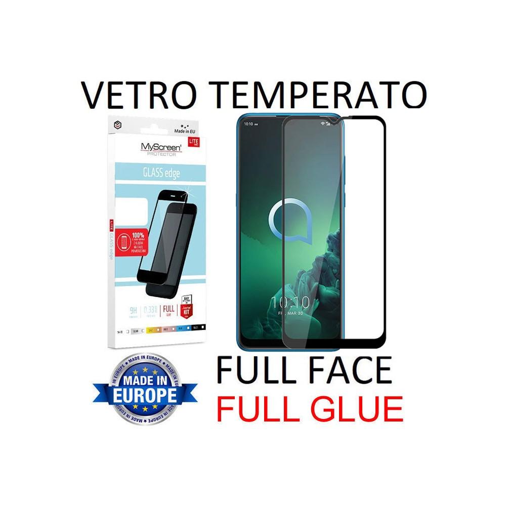 PELLICOLA per ALCATEL 3X (2019) IN VETRO TEMPERATO FULL FACE 9H - FULL GLUE 0,33mm CON CORNICE NERA MYSCREEN LITE BLISTER