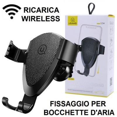 SUPPORTO AUTO UNIVERSALE CON FISSAGGIO PER BOCCHETTE D'ARIA + RICARICA WIRELESS 10W COLORE NERO USAMS BLISTER