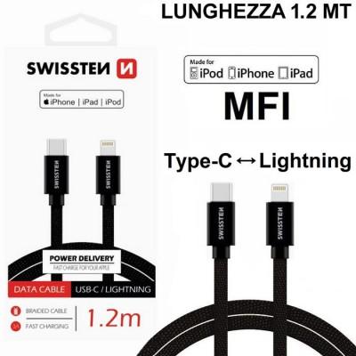 CAVO USB IN TESSUTO (CERTIFICATO MFI) LIGHTNING A TYPE-C LUNGHEZZA 1,2 MT COLORE NERO SWISSTEN BLISTER