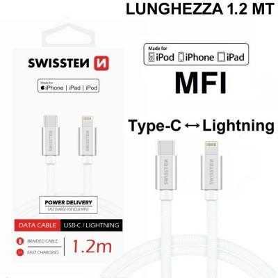 CAVO USB IN TESSUTO (CERTIFICATO MFI) LIGHTNING A TYPE-C LUNGHEZZA 1,2 MT COLORE SILVER SWISSTEN BLISTER