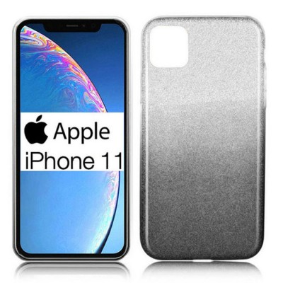 CUSTODIA per APPLE IPHONE 11 (6.1') IN GEL TPU SILICONE COLORE NERO SFUMATO CON BRILLANTINI