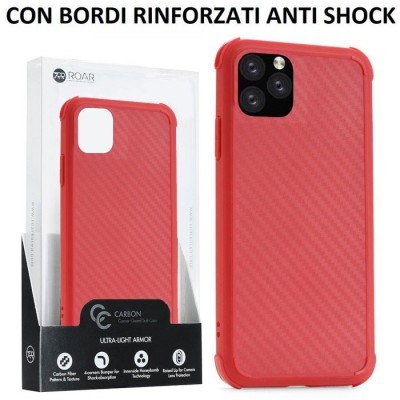 CUSTODIA per APPLE IPHONE 11 PRO (5.8')  IN GEL TPU SILICONE ROSSO EFFETTO CARBONIO CON BORDI RINFORZATI ANTI SHOCK ROAR BLISTER