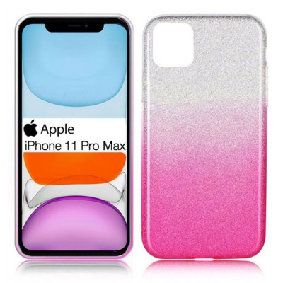 CUSTODIA per APPLE IPHONE 11 PRO MAX (6.5') IN GEL TPU SILICONE COLORE ROSA SFUMATO CON BRILLANTINI