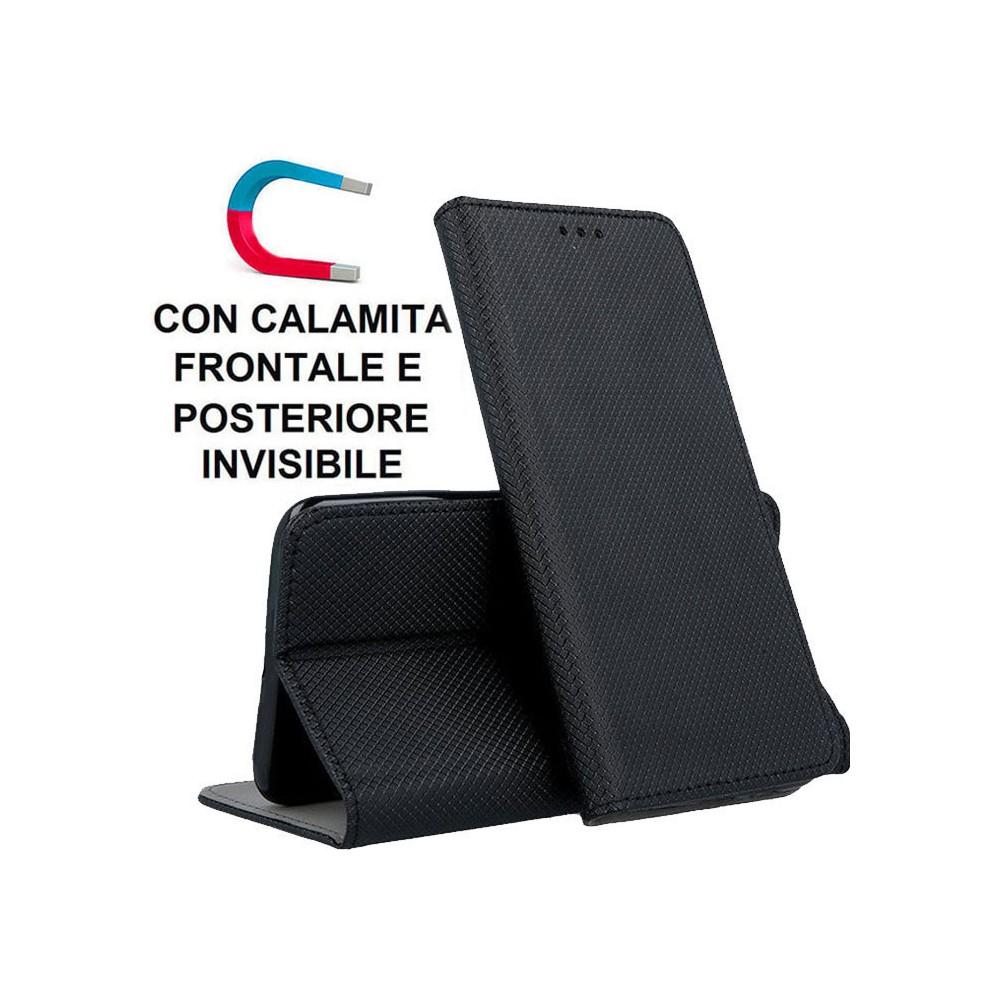 CUSTODIA per SONY XPERIA 5 - FLIP ORIZZONTALE con CHIUSURA MAGNETICA INVISIBILE, STAND E INTERNO IN TPU COLORE NERO