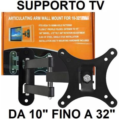 SUPPORTO A MURO UNIVERSALE CON 3 SNODI PER LED, LCD E PLASMA DA 10' A 32' POLLICI MAX 25KG COLORE NERO - ATTENZIONE..