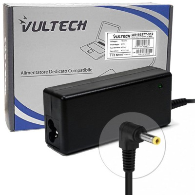 CARICATORE DA RETE PER NOTEBOOK ASUS 45W 19V 2.37A DIMENSIONI CONNETTORE 4.0x1.7mm COLORE NERO AS19237T-312 VULTECH BLISTER