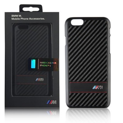 CUSTODIA BACK RIGIDA BMW per APPLE IPHONE 6, IPHONE 6S 4,7' POLLICI COLORE NERO CARBON BMHCP6MCC BLISTER