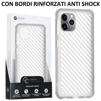 CUSTODIA per APPLE IPHONE 11 PRO MAX (6.5') IN TPU BIANCO TRASPARENTE EFFETTO CARBONIO CON BORDI RINFORZATI ANTI SHOCK ROAR