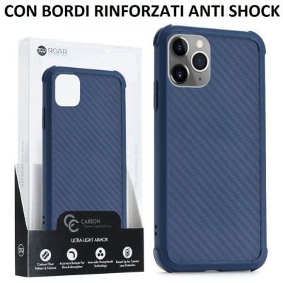 CUSTODIA per APPLE IPHONE 11 PRO MAX (6.5') IN TPU SILICONE BLU EFFETTO CARBONIO CON BORDI RINFORZATI ANTI SHOCK ROAR BLISTER