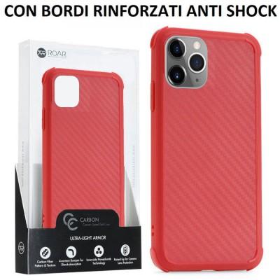 CUSTODIA per APPLE IPHONE 11 PRO MAX (6.5') IN TPU SILICONE ROSSO EFFETTO CARBONIO CON BORDI RINFORZATI ANTI SHOCK ROAR BLISTER
